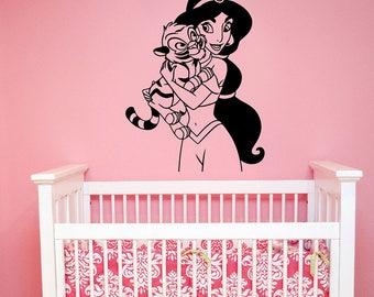 Rajah Baby Tiger Princess Jasmine Wall Decal Disney Aladdin Vinyl Sticker Fairy Tale Art Cartoon Decorations for Home Girl Room Decor alad11