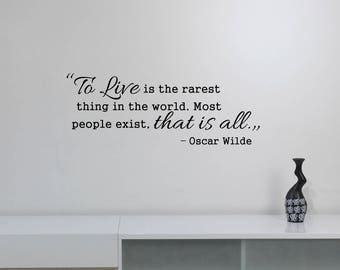 To Live Is The Rarest Oscar Wilde Quote Decal Vinyl Lettering Motivational Saying Sticker Art Home Room Office Inspirational Wall Decor wq3