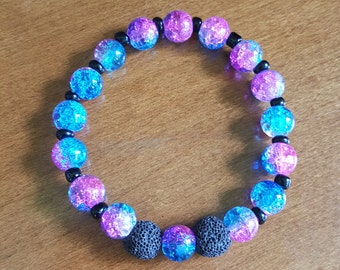Kid's Essential Oil Diffuser Bracelet, Aromatherapy Stretchy Bracelet, Galaxy, Space, Purple and Blue, Lava Rock, Diffuser Jewelry,