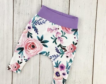 Baby girl clothes, baby outfit, baby harem pants, baby girl pants, floral outfit, baby girl pants