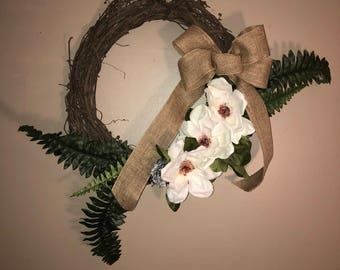 Magnolia Blossom Grapevine Wreath