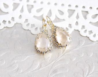 Ivory cream earrings, Crystal Bridal earrings, Bridal jewelry, Ivory earrings, Swarovski earrings, Teardrop earrings, Wedding earrings