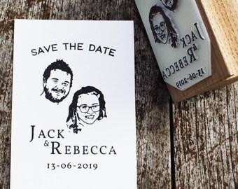 Custom portrait wedding stamp, custom save the date, personalised save the date, custom wedding invite, hand drawn portrait invite