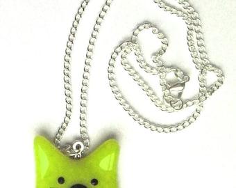 Green glass cat