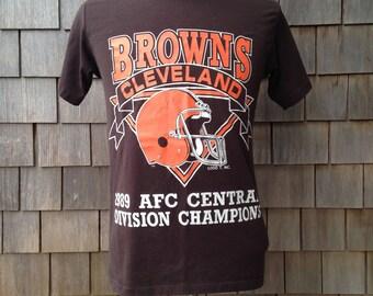 80s vintage Cleveland Browns T Shirt - 1989 Division Champs - Medium