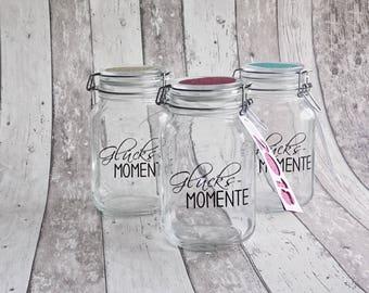 Glücksmomente, Glücksglas, Geschenk, Erinnerungen, Erinnerungsglas von Frollein KarLa