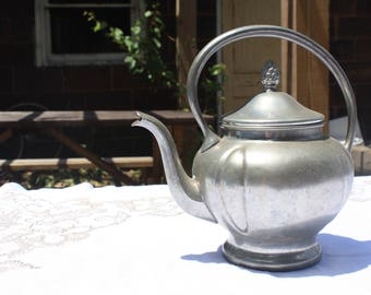 Antique Pewter Teapot with Removable Lid and Strainer