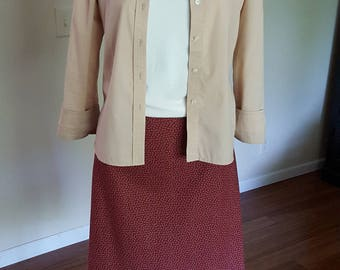 Burgundy-red A-line cotton skirt.  Size 16-18.  Handmade USA.