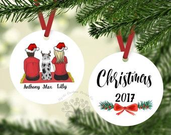 Couple With Aussie Ornament, Aussie Gift, Personalized Christmas Ornament, Aussie Ornament, Dog Ornament,Australian Shepherd Ornament