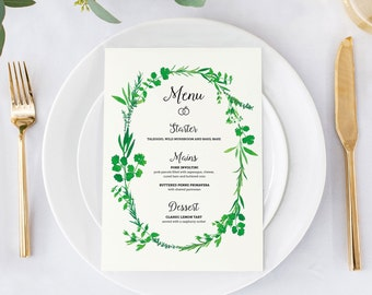 Wedding menu, eucalyptus rustic wedding menu, rustic menu for weddings, eucalyptus leaves menu for weddings, botanical wedding stationery