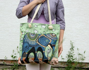 Tote bag Shoulder Bag market bag beach bag Boho Bag Tribal Bag african bag ethnic Bag african print african style Elephant bag Elephant prin