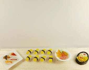 Miniature food, miniature sushi,food earrings, food jewelry, polymer clay jewelry, sushi studs , sushi earring, miniature japanese food