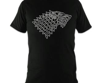 Game of Thrones House Stark T Shirt Tribal Tattoo Style Stark Sigil TShirt Unisex Mens Womens TV Show Gift Black White Tee Shirt