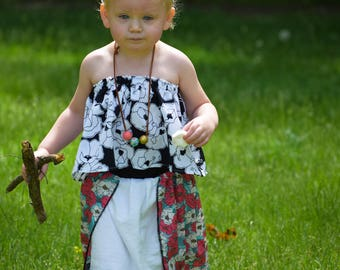 The Defiant Chiffon Panel Skirt with a Vintage Style Floral Pattern for Baby Toddler Girls and Tween