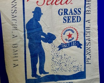 Vintage Cloth Grass Seed Bag, Cloth Seed Feed Sack, Vintage Advertising, Kitchen Decor,  America's Select Pensacola Bahia, Ferry Morse