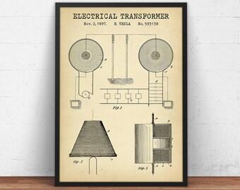 Tesla transformer etsy electrical transformer patent print digital download blueprint art school decor science wall art malvernweather Gallery