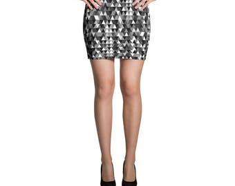 Geometric Skirt, Triangle Skirt, Jersey Skirt, Grey Skirt, Fitted Skirt, Bodycon Skirt, Pencil Skirt, Printed Skirt, Mini Skirt, Summer