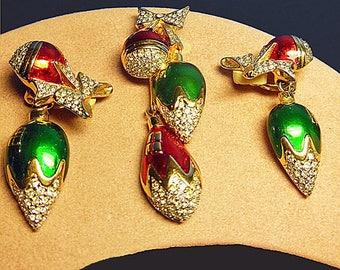 Rare Swarovski vintage Christmas brooch and earrings Signed Swan Logo