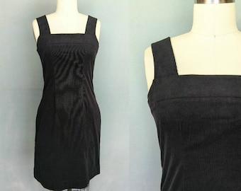 coolness / 90s dkny black corduroy pinafore dress / 2 4 xs small