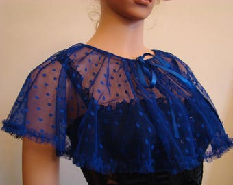 Royal blue satin tulle capelet