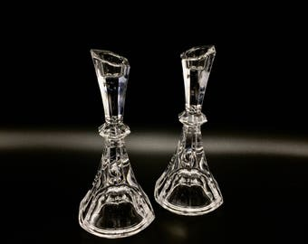 Vintage Pair Waterford-Style Irish Crystal Candleholders / Candlesticks not Signed. Flawless Condition for your Sparkling Tablescape!