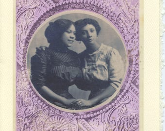 Circle Of Love: Black girlfriends engagement card, gay girls card, mother's day card, daughters card to mother, intersectional love card