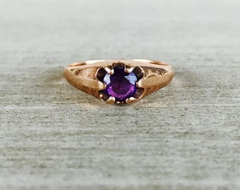 Rose gold amethyst solitaire ring