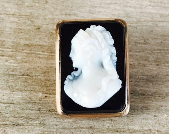 Black and white cameo vintage brooch