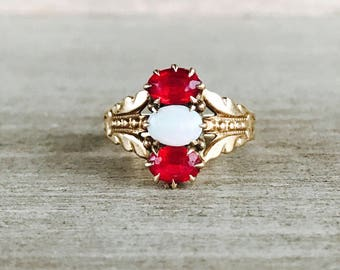 Victorian red paste and opal ring