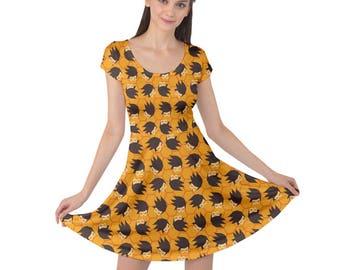 Tracer Dress - Short Sleeve Skater Dress Overwatch Dress Lena Oxton Dress Plus Size Dress Video Game Dress Speedster Dress Oddity Apparel