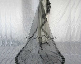 Bridal Cathedral GOTHIC HALLOWEEN Black Wedding Veil 3T Tulle Gothic