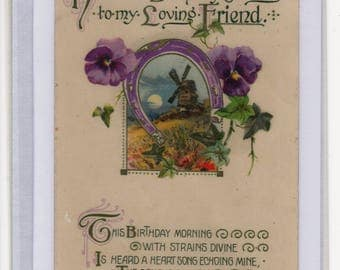 Handmade Blank Greetings Card, Upcycled Vintage Postcard,Heartiest Birthday Greetings,Windmill, Pansies, c1910