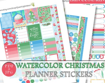 Christmas Printable Planner Stickers, Erin Condren Christmas Printable Sticker, December Sticker Kit Printable, Christmas Weekly Kit ECLP