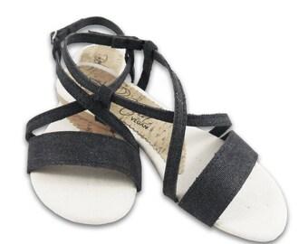 Sandalo Vegano in Canapa - Ginestra Nero - BellaStoria Vegan Shoes