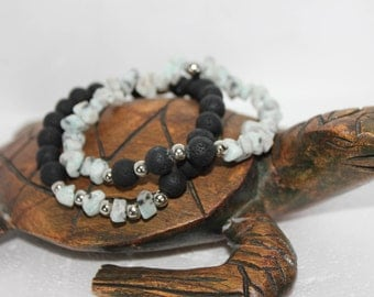 Double Stretch Bracelet with irregular stones Jasper.