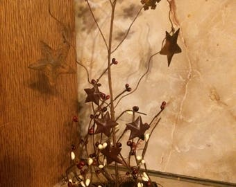 Primitive decor, country decor, rustic decor, rustic snowflakes, pip berry decor, vintage decor, primitive tree