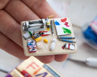 Miniature doll house 1:12 scale board with polymer clay and tools magnet