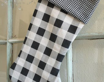 Large Black Check Stocking--Houndstooth Cuff #4