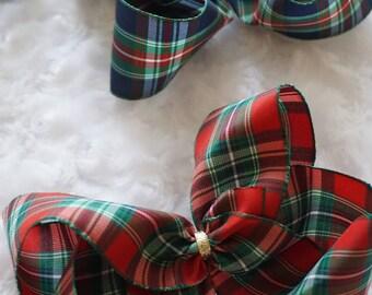 Tartan bow, Christmas bows, girls hair bow,Christmas bows for girls,tartan ribbon bow