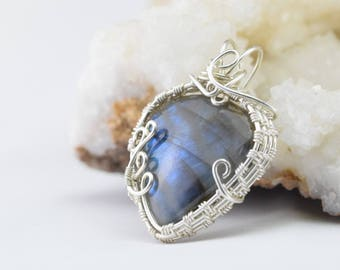 Labradorite - Wire wrapped silver plated copper wire pendant