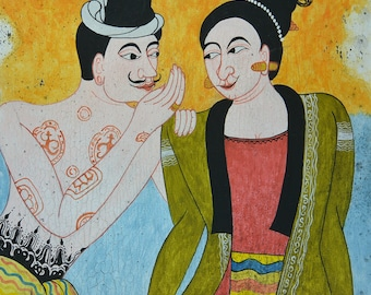 "Painting on canvas - ""Seduction"" - Traditional Thai painting canvas"