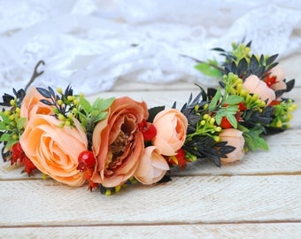 Peach flower crown Wedding flower crown Bridal headband Girl flower crown Flower hair wreath Flower halo Boho flower girl Boho floral crown