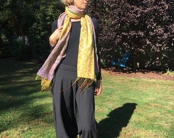 Large Reversible Indian Silk Scarf