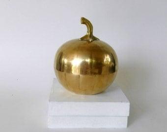 Vintage Brass Pumpkin Trinket Dish,Solid brass lidded box, Brass Candy or Jewelry Box ,Fall Autumn  Decor,