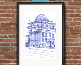Bank of Toronto | BluePrints | Hand drawn sketch of an architectural icon