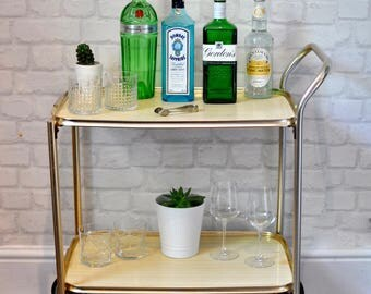 Vintage 1970s 2 Tier Gold Drinks Cart, Retro Hostess Trolley, Side Table, Drinks Trolley, Mid Century Tea Trolley, Bar, Cocktail Bar