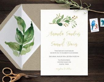 wedding invitation printable elegant modern greenery minimalist wedding invitations leafy green wedding invite template outdoor wedding #ITW