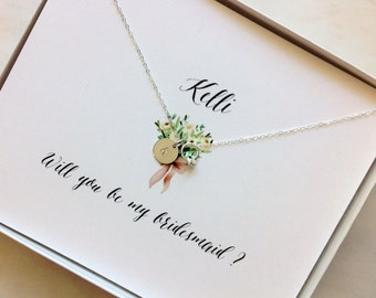 "Personalized ""Proposal"" Necklace,  Will You Be My Bridesmaid Gift Card Box Jewelry, Bridesmaid Proposal, Bridesmaid Ask, Thank You"