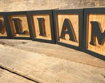 Wooden Letter Blocks, Wooden Alphabet Block, Child's Room Decor, Nursery Decor