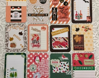 Set of 12 Embellished 3x4 Project Life Cards ~ Halloween ~ Thanksgiving ~ Christmas